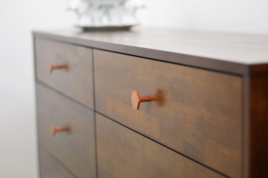 nursery dresser geometric copper hardware
